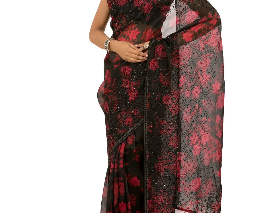 Black and Red Base Organza Saree with Blouse (Style Code: 2360152)