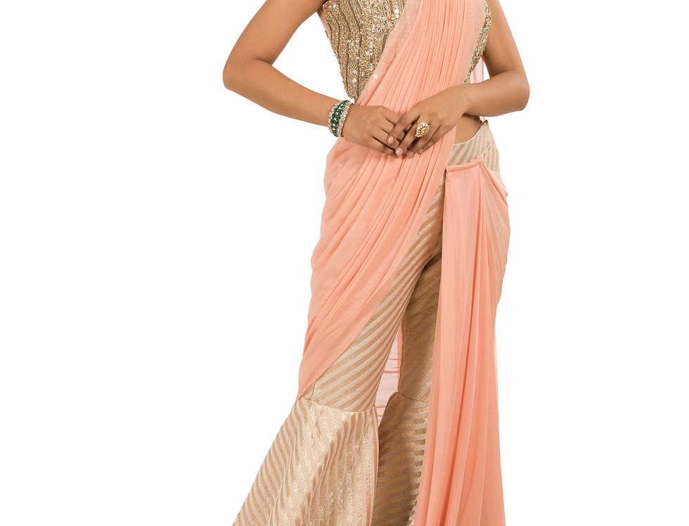Gold & Peach Base Designer Sharara Saree with Blouse (Style Code: 2385376)