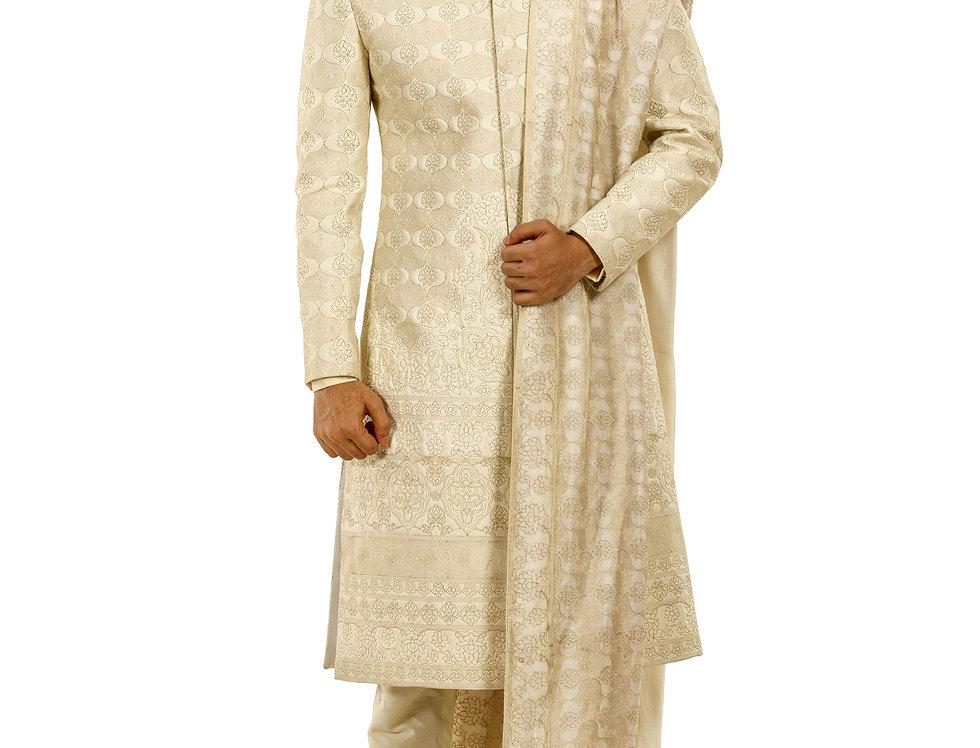 Cream Katan Silk Sherwani with Resham Quilting Work & Stole(Style Code: 2376633)
