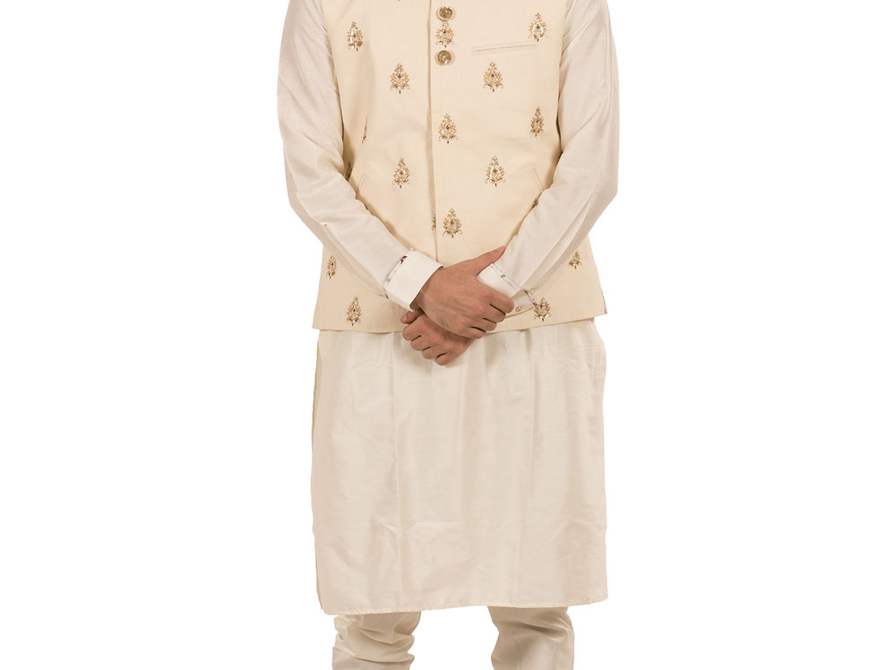 Cream Base Silk Kurta Pajama with Dupion Waist Coat (Style Code: 2142037)