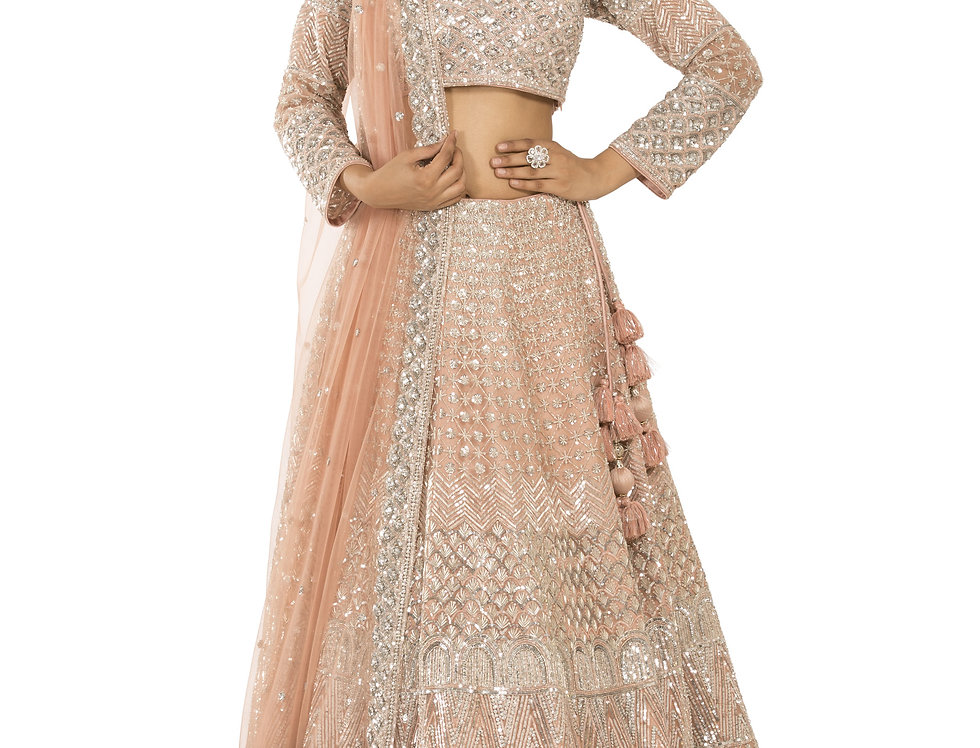 Peach Party Wear Lehenga with Dupatta (Style Code: 2378807)