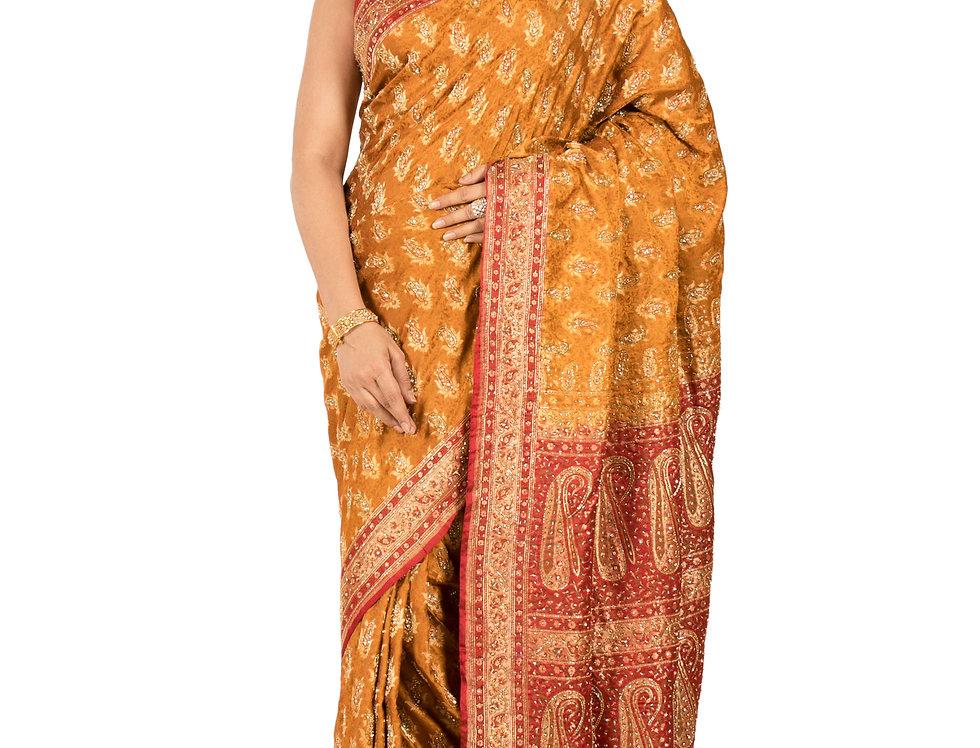 Mustard Tanchoi Silk Designer Zari Work Saree & Blouse (Style Code: 2319748)