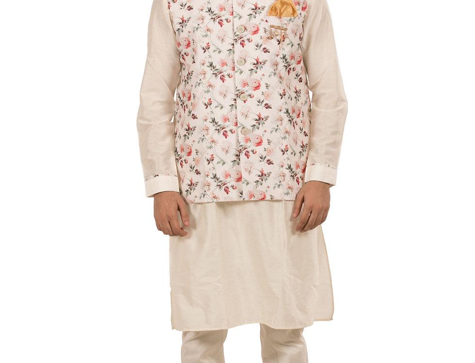 Cream Base Silk Designer Kurta with Waist Coat & Pajama (Style Code: 2390431)