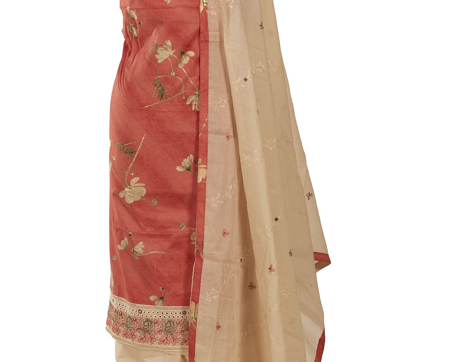Peach & Cream Base Cotton Unstitched Suit Salwar & Dupatta (Style Code: 2384153)