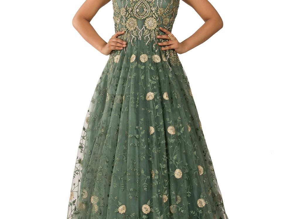 Dusty Green Party Wear Gown with Embroidery Work (Style Code: 2372000)