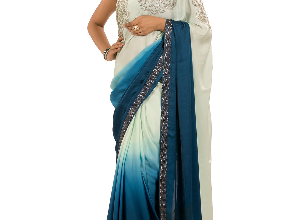 Blue to Pista Green Georgette Designer Saree with Blouse (Style Code: 2363648)