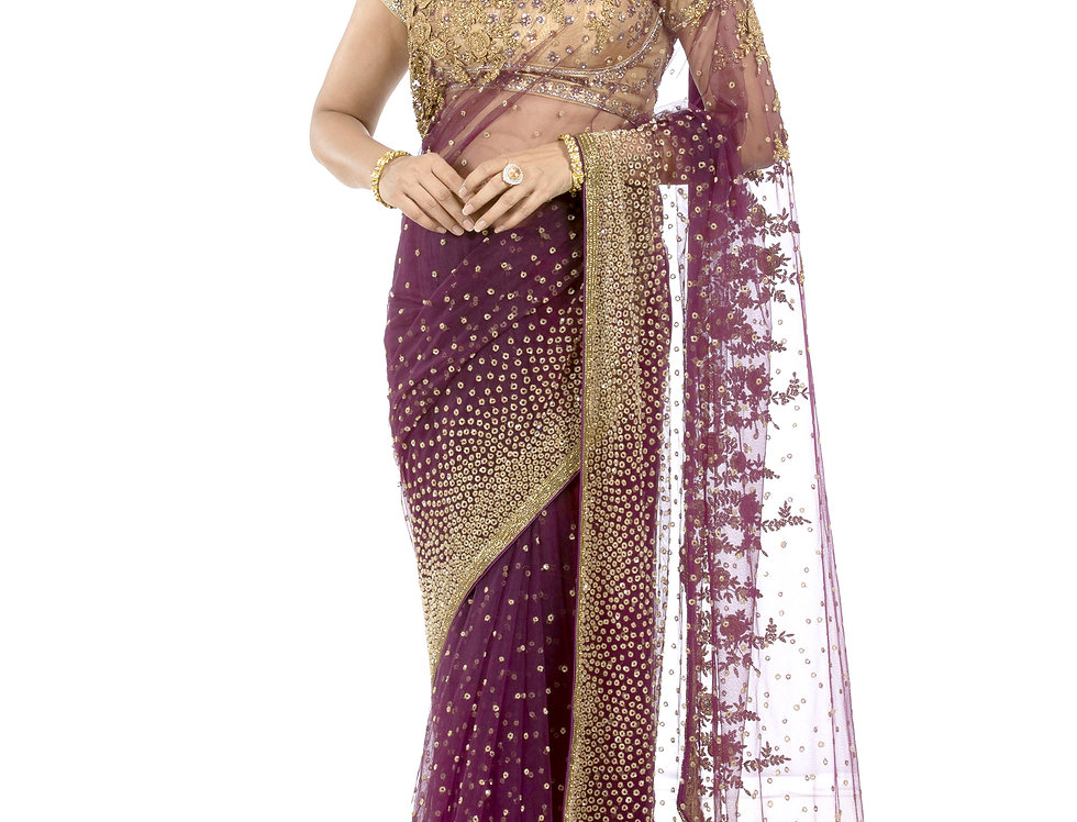 Purple Designer Net Saree with Sequence Work & Blouse (Style Code: 2339383)