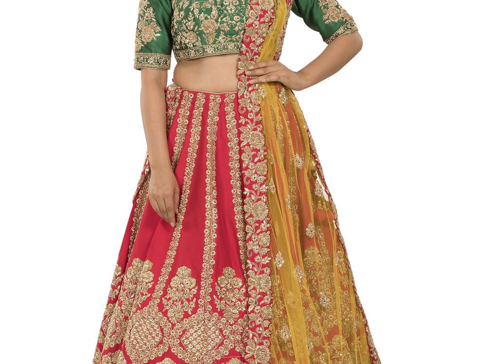 Red & Green Silk Lehenga with Yellow Net Dupatta (Style Code:2388063)