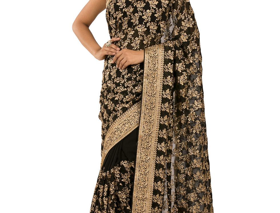 Black Georgette Designer Saree with Zari Work & Blouse (Style Code: 2387140)