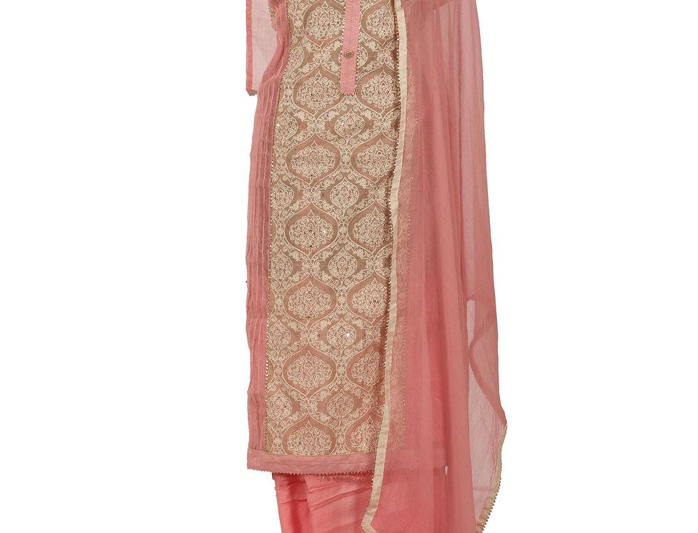 Pink Base Cotton Unstitched Suit Salwar & Dupatta (Style Code:2383921)