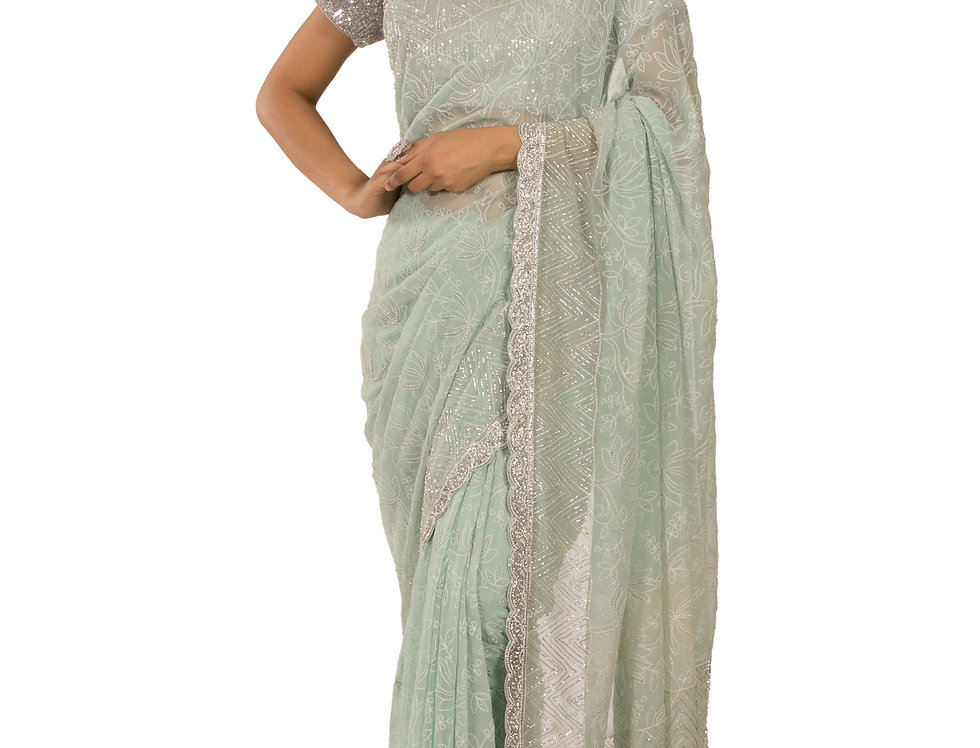 Aqua Base Georgette Designer Saree with Blouse (Style Code: 2331279)