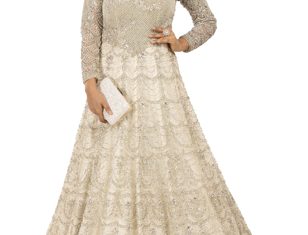 White Party Wear Gown with Silver Crystal & Pearl Work (Style Code: 2386029)