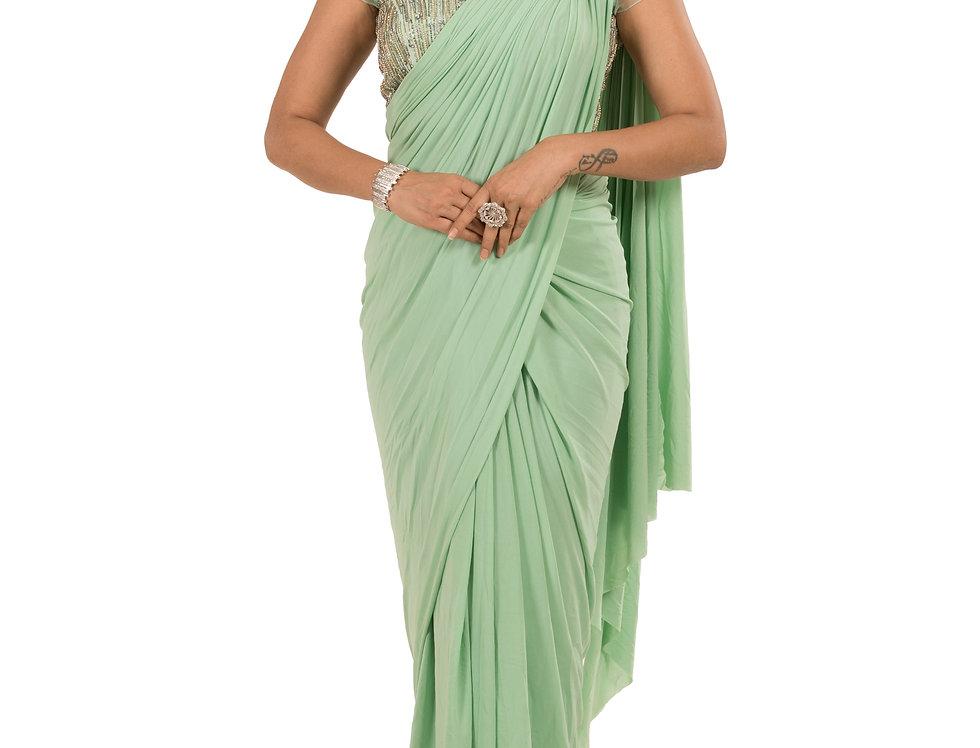 Sea Green Lycra Designer Stitch Draped Saree with Blouse (Style Code: 2385380)