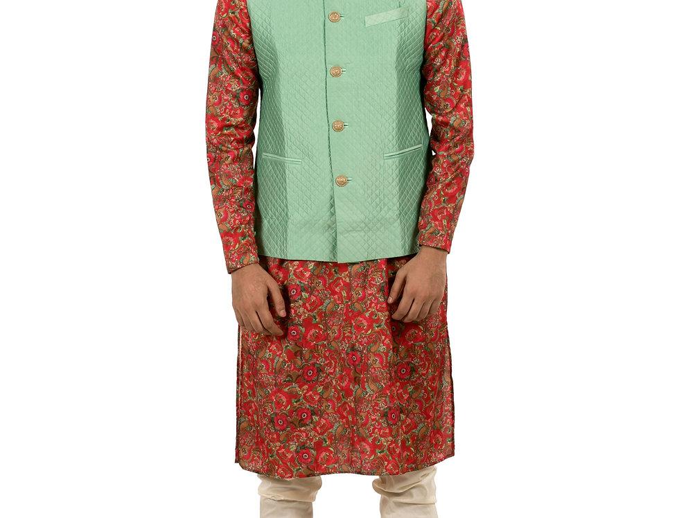 Red Base Printed Silk Kurta Pajama with Silk Waist Coat (Style Code: 2320876)