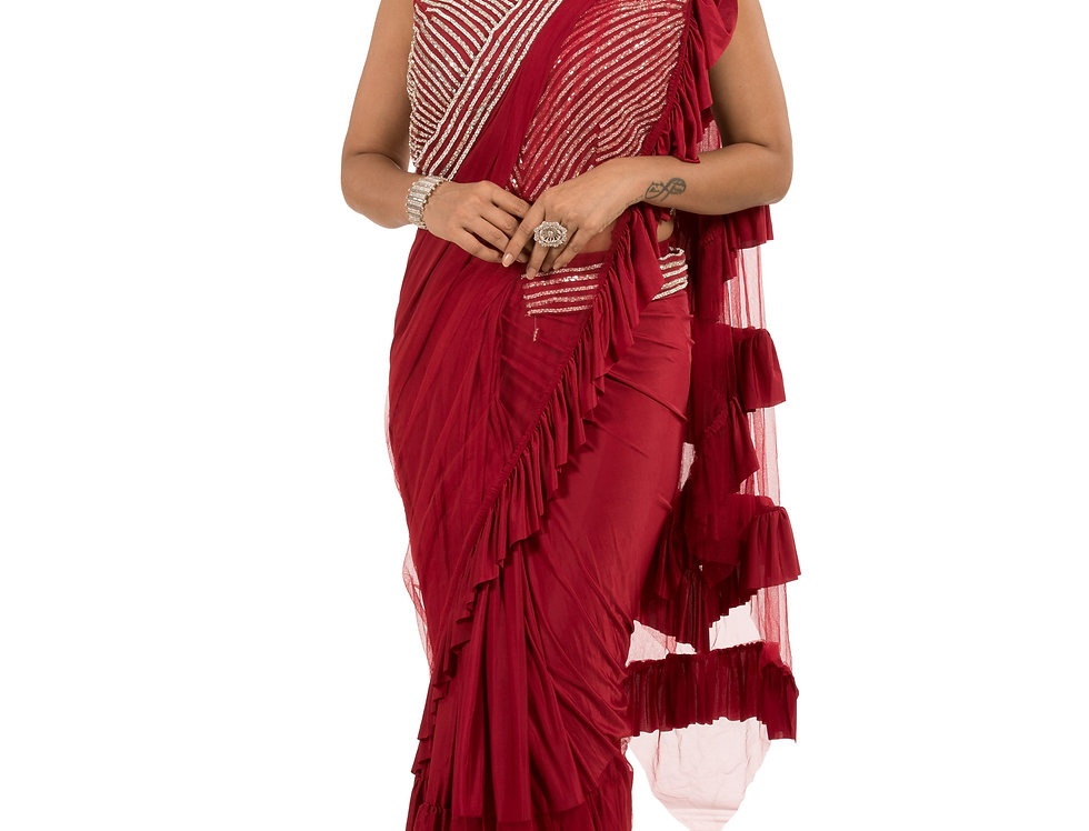Maroon Base Lycra Designer Stitch Draped Saree with Blouse (Style Code: 2374561)