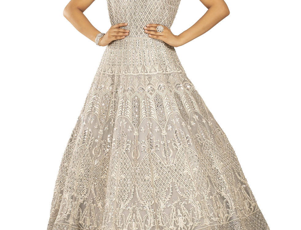 Light Grey Party Wear Gown with Thread Work (Style Code: 2388515)