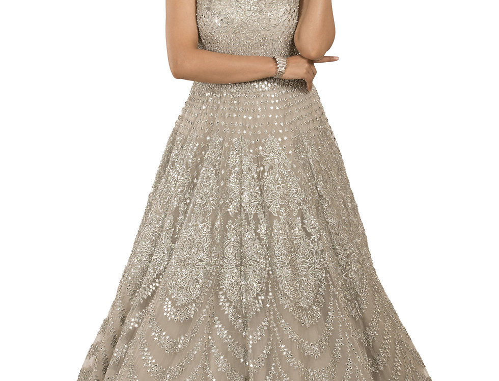 Silver Party Wear Gown with Self Silver Embroidery Work (Style Code: 2341688)