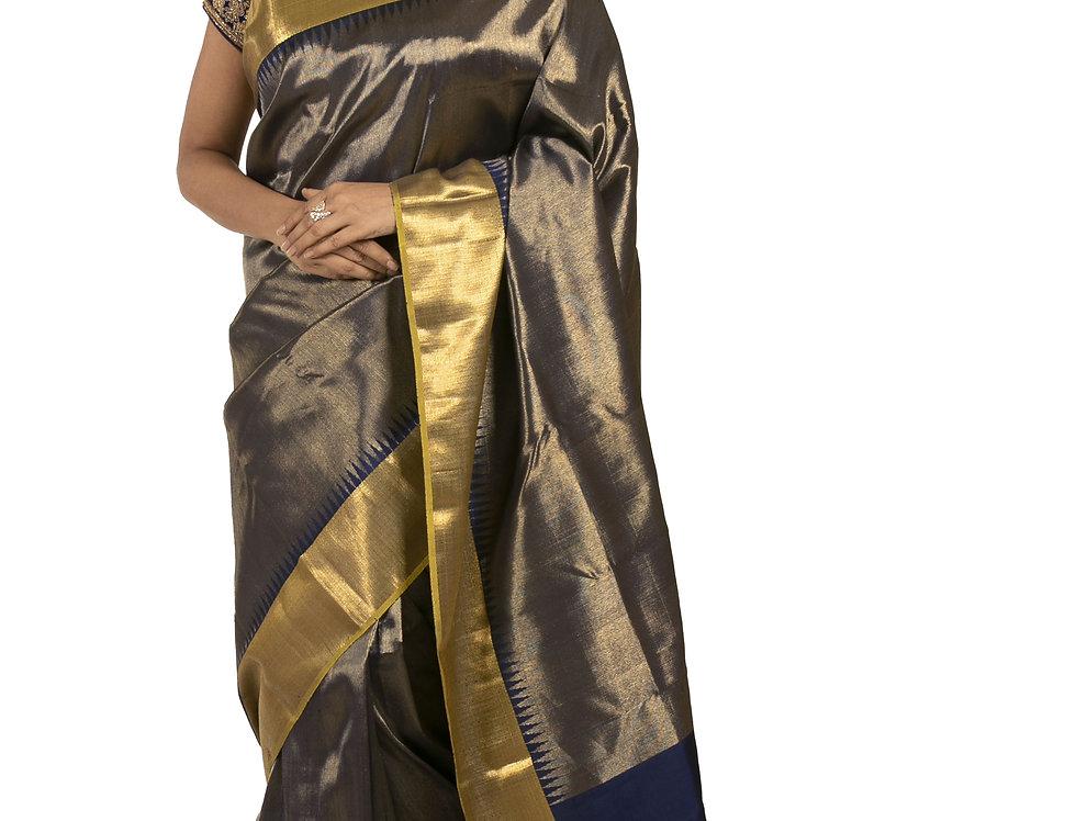 Navy Blue Pure Silk Designer Saree with Zari Work & Blouse (Style Code:2369956)