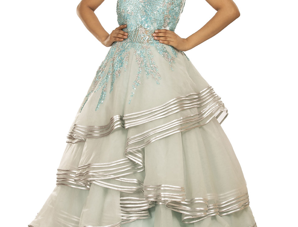 Aqua Blue Bridal Party Wear Gown with Self Embroidery (Style Code: 2375500)