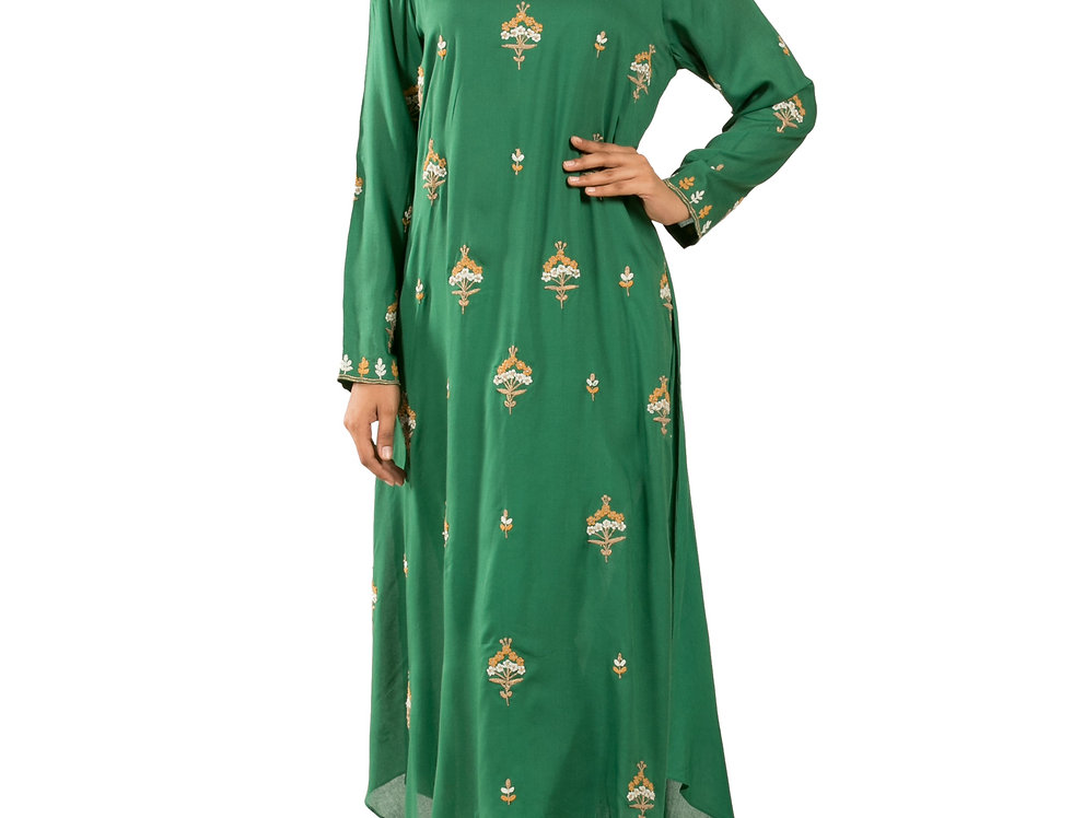 Green Base Leon Cotton Kurti with Fine Zari Work (Style Code: 2278305)
