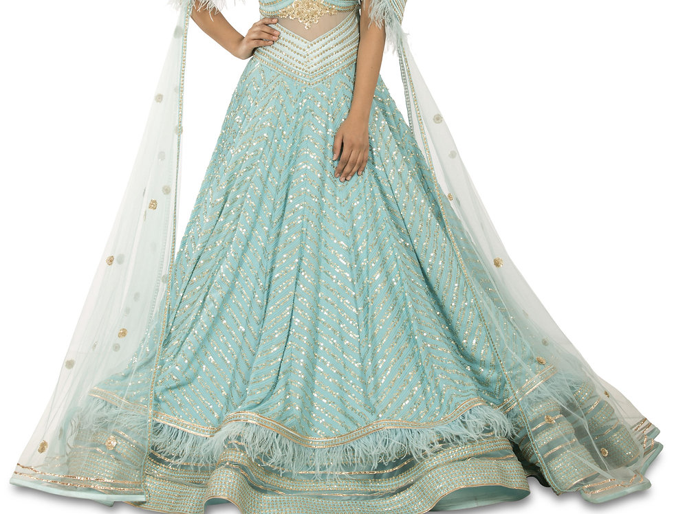 Aqua Blue Party Wear Gown with Self Thread & Sequence Work (Style Code: 2355685)