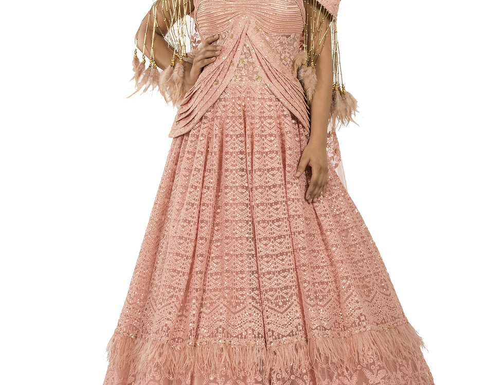 Dusty Pink Party Wear Gown with Gold Sequence Work (Style Code: 2375486)