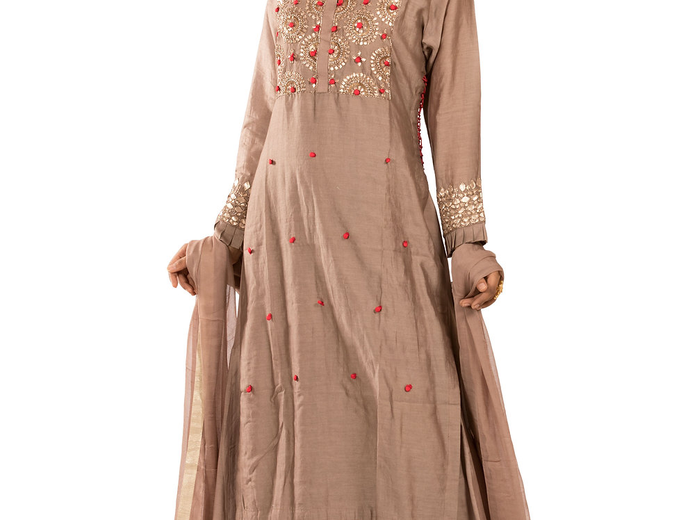 Light Brown Readymade Suit with Skirt & Dupatta (Style Code: 2352040)
