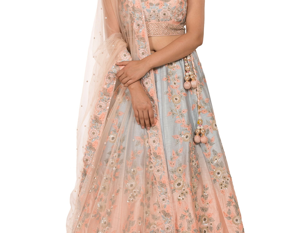 Party Wear Silk Lehenga in Jasmine Blue to Peach Shades (Style Code: 2366401)