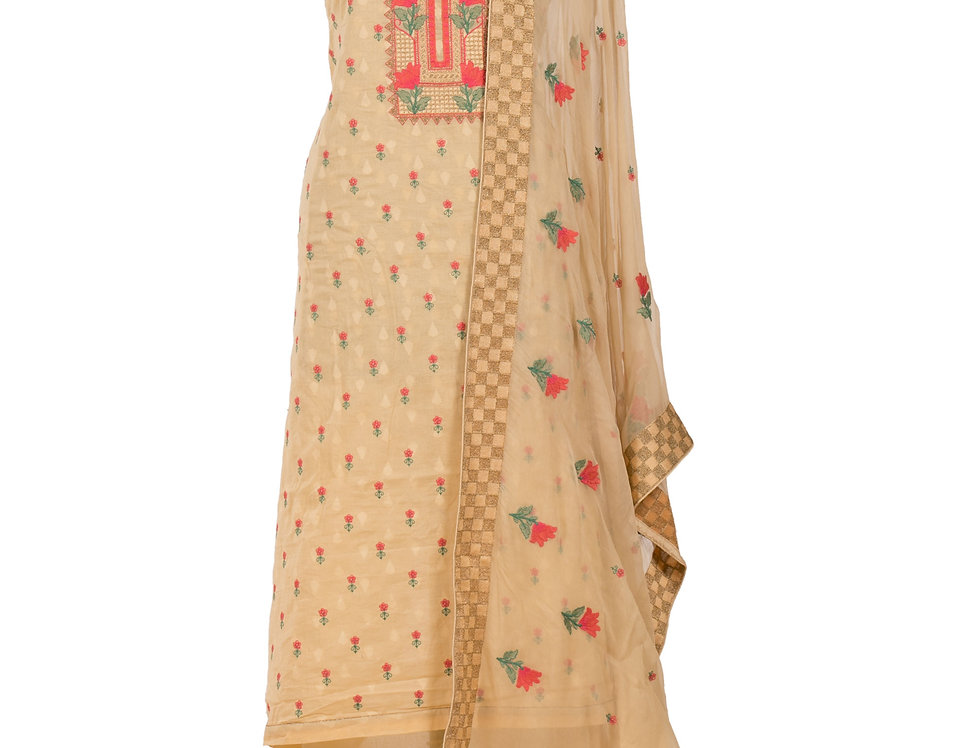 Yellow Base Cotton Unstitched Suit Salwar & Dupatta (Style Code: 2321090)