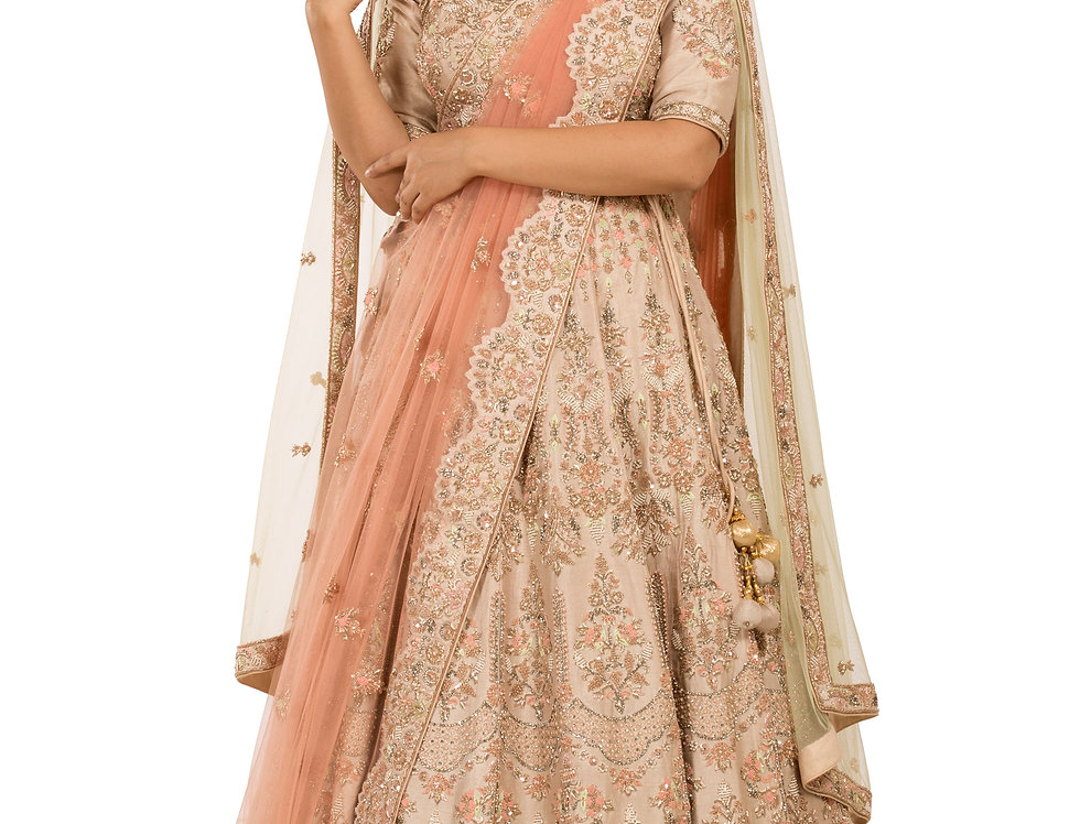 Rose Gold Silk Lehenga with Two Separate Dupattas (Style Code: 2379463)
