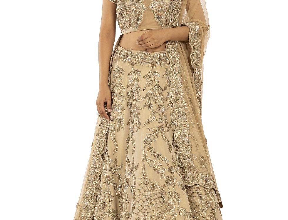 Gold Zardozi Embroidered Tissue Silk Lehenga with Dupatta (Style Code: 2387977)