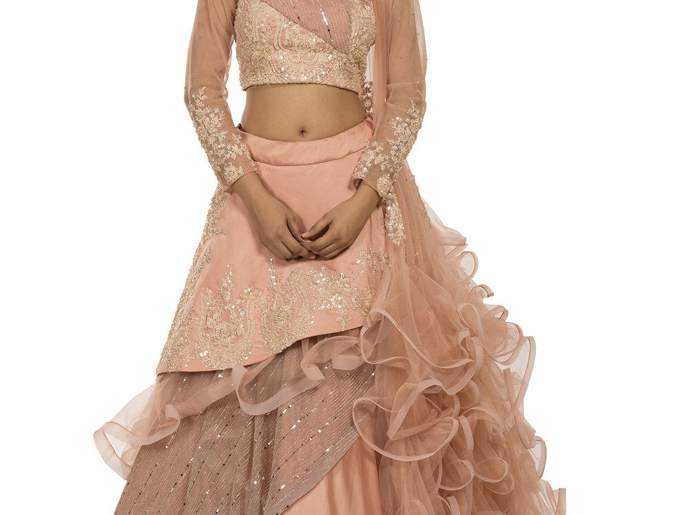 Peach Party Wear Layered Skirt with Heavy Designer Blouse (Style Code: 2329487)