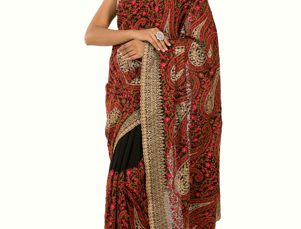 Black Base Georgette Designer Saree with Blouse (Style Code: 2306889)