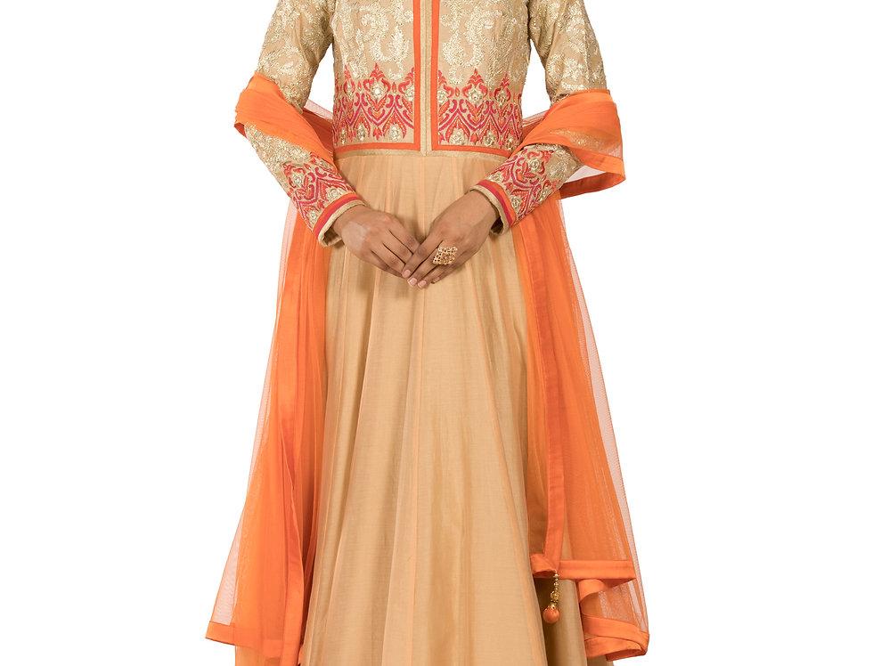 Gold & Peach Anarkali Suit with Gota Work & Dupatta (Style Code: 2327819)