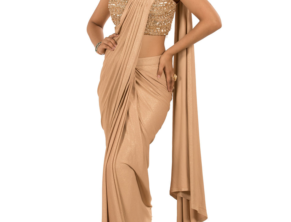 Beige Base Lycra Designer Stitch Draped Saree with Blouse (Style Code: 2369542)