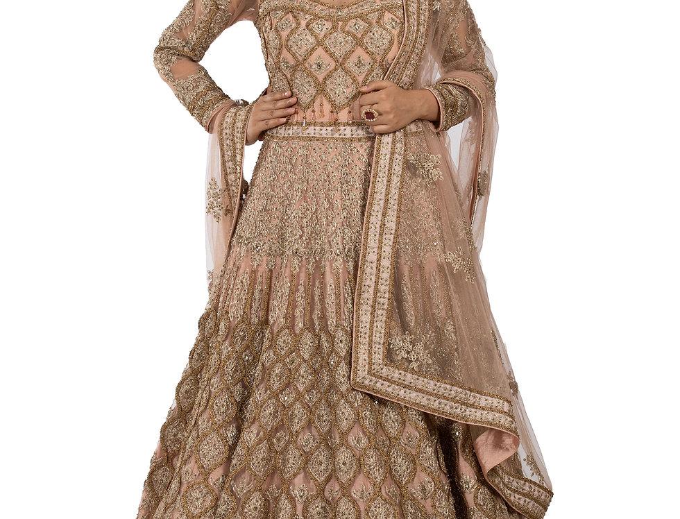 Light Peach Base Silk Anarkali Suit & Heavy Dupatta (Style Code: 2257047)
