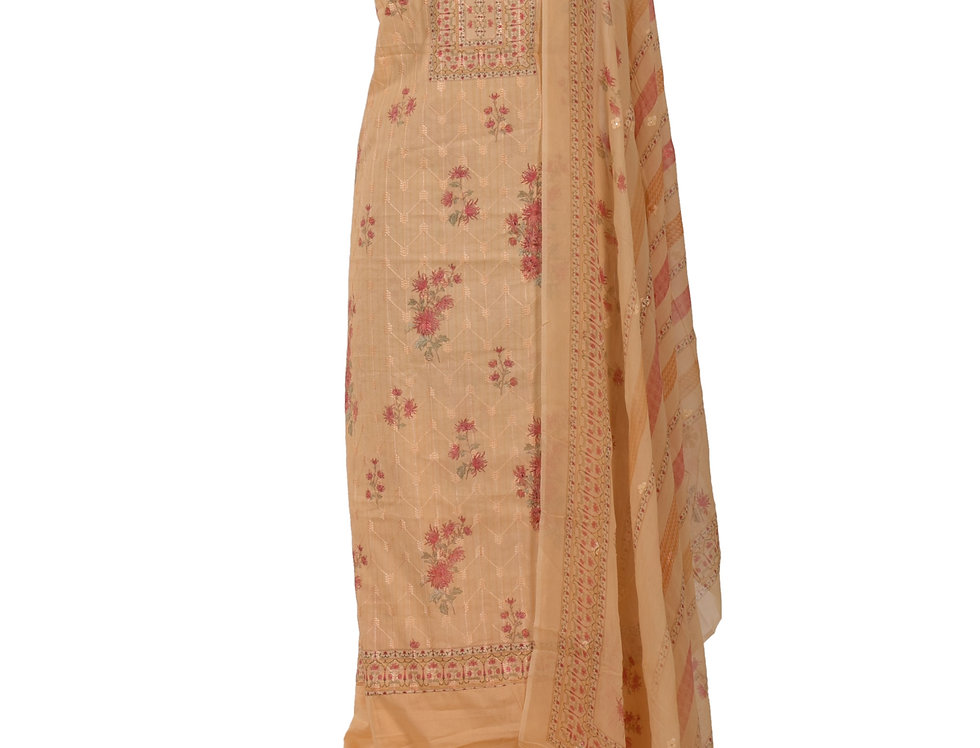 Peach Base Cotton Unstitched Suit Salwar & Dupatta (Style Code: 2390579)