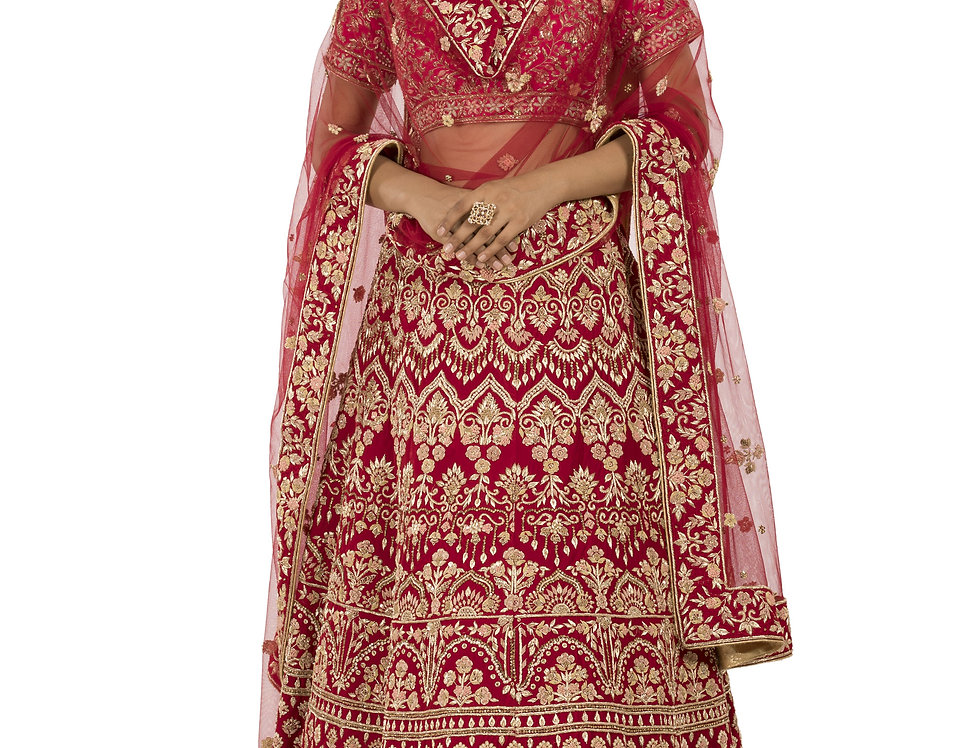 Red Base Velvet Zardozi Work Bridal Lehenga Set & Dupatta (Style Code: 2328029)