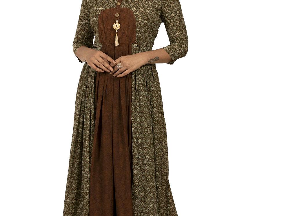 Brown Base Rayon Georgette Designer Printed Long Kurti (Style Code: 2278868)
