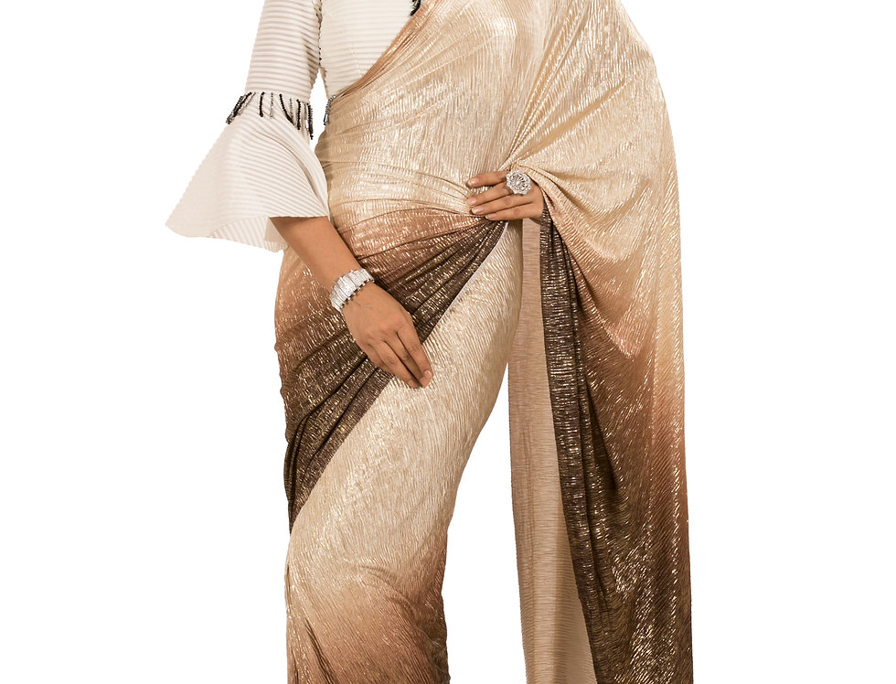 Brown-Gold Shaded Lycra Designer Pre-Draped Saree & Blouse (Style Code: 2383014)