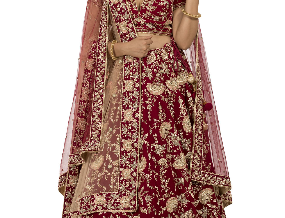 Deep Red Velvet Lehenga with Two Separate Dupattas (Style Code: 2369484)