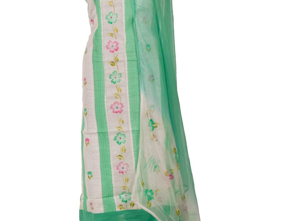 White & Green Base Cotton Unstitched Suit Salwar & Dupatta (Style Code:2310523)