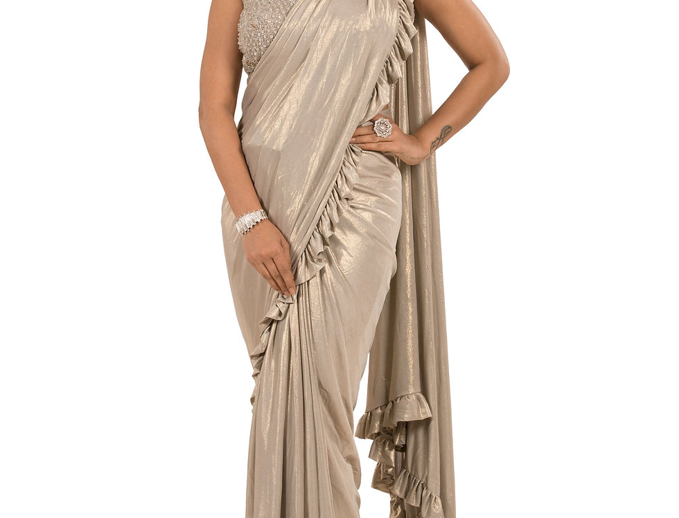 Mouse Color Lycra Designer Stitch Draped Saree with Blouse (Style Code: 2367980)