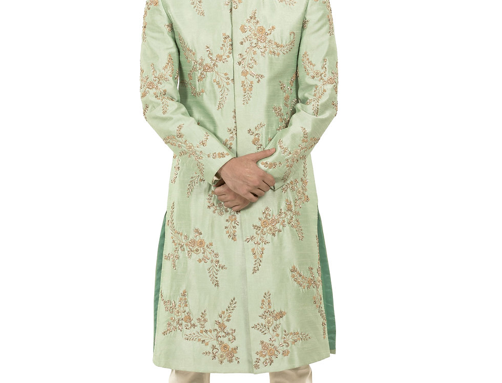 Mint Green Base Dupion Sherwani with Embroidery & Churidar (Style Code: 2348163)