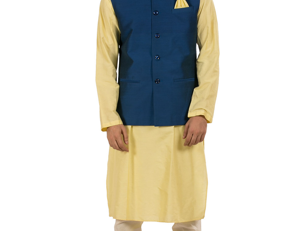 Lemon Silk Kurta Pajama with Navy Blue Dupion Waist Coat (Style Code: 2233469)