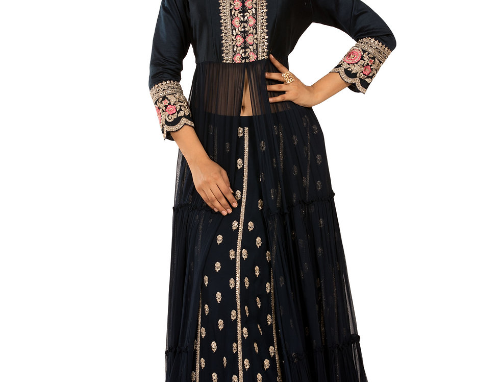 Dark Blue Base Georgette Indo-Western Dress with Skirt (Style Code: 2388028)