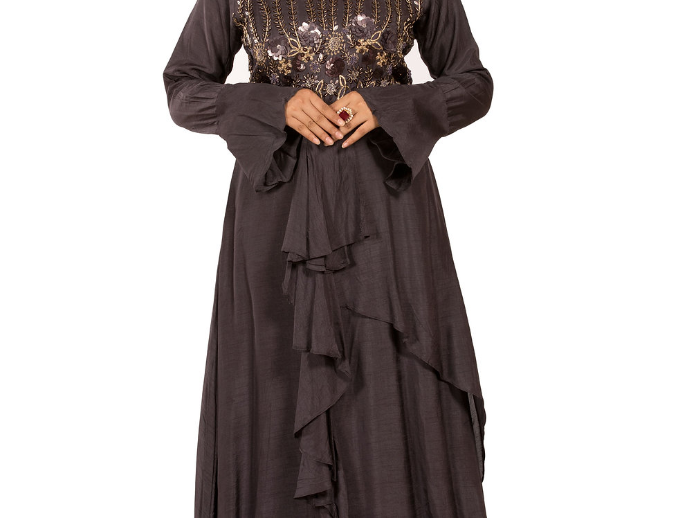 Dark Grey Base Chanderi Silk Gown with Embroidery Work (Style Code: 2366545)