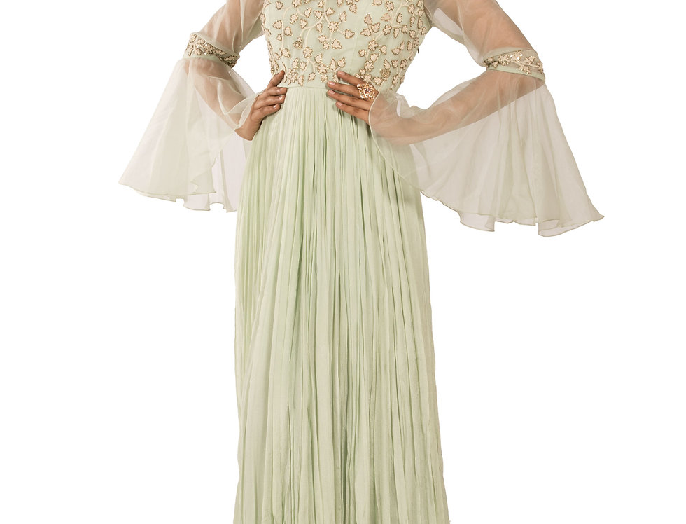 Pista Green Party Wear Dress with Resham & Sequence Work (Style Code: 2341677)