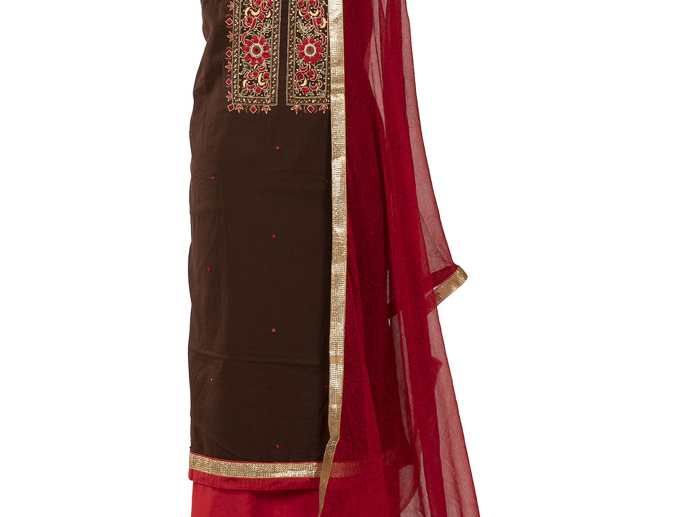 Brown & Red Cotton Unstitched Salwar Suit with Dupatta (Style Code: 2298114)
