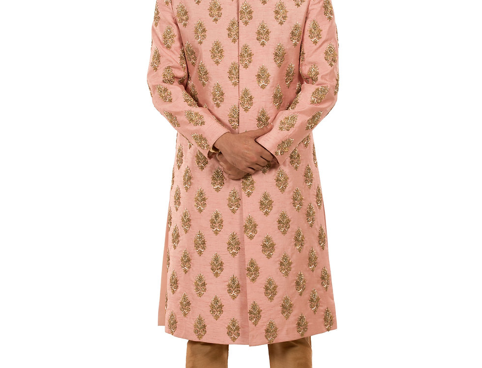 Pink Base Dupion Sherwani with Zardozi Work (Style Code: 2363829)